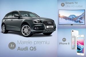 Câștigă o mașină Audi Q5, 5 televizoare Samsung Ultra HD curbate și 10 smartphone-uri Apple iPhone 8