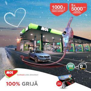 Câștigă 5 carduri carburant MOL de 5.000 lei, 500 raclete Fiskars și 500 lopeți zăpadă Fiskars
