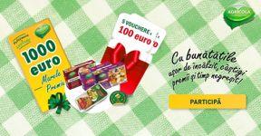 Câștigă 1.000 de euro, 5 x bonuri cadou de 100 euro și 70 pachete cu bunătăți Agricola