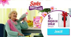 Câștigă 5 mașini de spălat rufe Whirlpool și 100 premii constând în detergent Savex