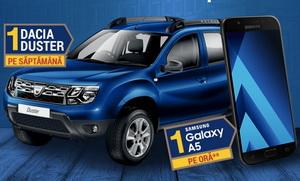 Câștigă 8 mașini Dacia Duster și 448 smartphone-uri Samsung Galaxy A5