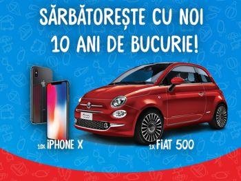 Câștigă o mașină Fiat 500 și 10 iPhone X