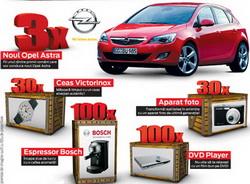 Castiga 3 masini Opel Astra, 30 de ceasuri, 30 de aparate foto, 100 de dvd playere si 100 de espresoare
