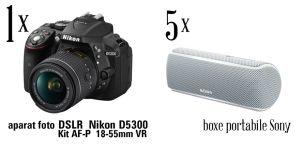 Câștigă un aparat foto DSLR Nikon D5300 Kit AF-P 18-55mm VR și 5 boxe portabile Sony