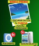 Castiga o vacanta in Turcia, 5 smartphone Samsun Galaxy S3 Mini si 6 iPod Shuffle