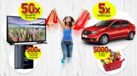 Castiga 5 masini Dacia Logan Acces, 50 televizoare LED Samsung 80 cm, 500 smartphone Allview P8 Energy Mini si 5.000 vouchere Profi de 50 lei fiecare