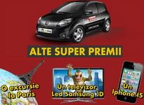 Castiga o masina Renault Twingo, o excursie la Paris, un iPhone 4S si un televizor LED Samsung