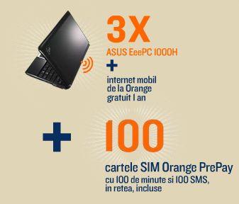 Castiga 3 laptopuri ASUS cu 3 abonamente de Internet Mobil si 100 de cartele SIM-uri Orange PrePay
