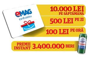 Câștigă 9 vouchere eMAG de 10.000 lei, 63 vouchere eMAG de 500 lei, 756 vouchere eMAG de 100 lei și 3,4 milioane doze bere Neumarkt
