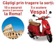 Castiga 10 excursii la Roma, 5 scutere Vespa si 10.000 de sorturi