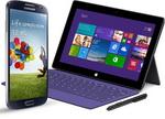 Castiga o tableta Microsoft Surface Pro si un smartphone Samsung Galaxy S4