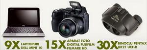 Castiga 9 laptopuri Dell Mini 10, 15 aparate foto digitale Fujifilm filmare HD, 30 Binocluri Pentax si alte zeci de premii