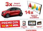 Castiga 3 masini Smart Forfour, 14 televizoare curbate Sony Bravia sau alte 47.040 premii instant