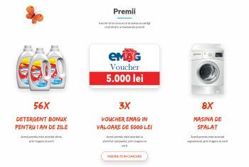 Câștigă 3 vouchere eMAG de 5.000 lei fiecare și 8 mașini de spălat rufe Electrolux
