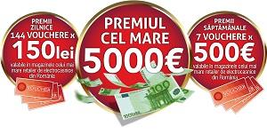 Câștigă 5.000 de euro, 7 vouchere Altex de 500 euro fiecare și 144 vouchere Altex de 150 lei fiecare