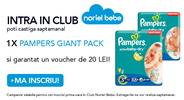 Castiga saptamanal un pachet de scutece Pampers Giant Pack