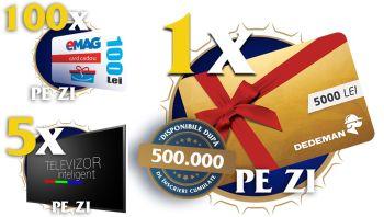 Câștigă zilnic 5 televizoare Samsung și 100 vouchere eMAG de 100 lei