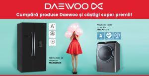 Câștigă lunar un frigider Side by Side Dawoo sau o mașină de spălat rufe cu uscător Daewoo