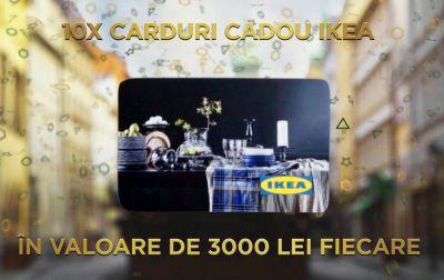 Câștigă 10 carduri cadou IKEA în valoare de 3.000 lei fiecare