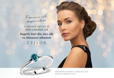 Câștigă un inel din aur alb cu diamant albastru