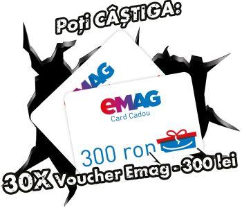 Câștigă 30 vouchere eMAG în valoare de 300 lei fiecare