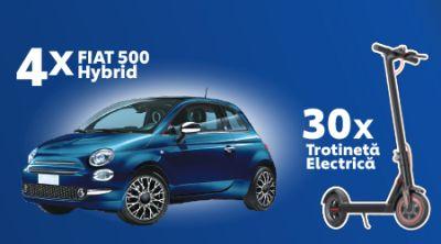 Câștigă 4 mașini Fiat 500 Hybrid