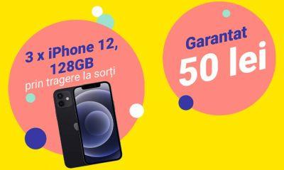 Câștigă 3 telefoane iPhone 12 128GB