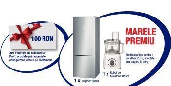 Câștigă un frigider Bosch, un robot de bucătarie Bosch și 20 vouchere Profi de 100 lei fiecare
