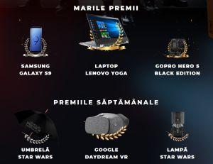 Câștigă un laptop Lenovo Yoga, un Samsung Galaxy S9 și un GoPro Hero 5