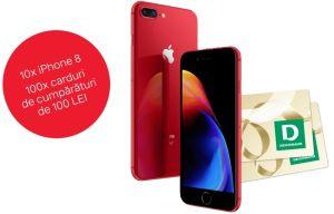 Câștigă 10 iPhone 8 RED 64GB și 100 vouchere Deichmann în valoare de 100 lei fiecare