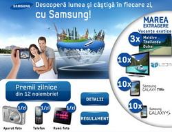 Castiga 3 vacante exotice (Maldive, Thailanda, Dubai), 10 televizoare Samsung 3D LED, 10 tablete Samsung Galaxy Tab, 10 telefoane mobile Samsung Galasy S