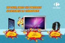 Castiga un laptop Apple MacBook Air, un iPad Air 2, un Apple Watch Sport si 20 vouchere Carrefour in valoare de 6.000 de lei