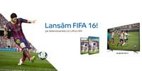 Castiga 2 televizoare led LG, o consola Xbox One, un soundbar LG si 10 jocuri FIFA 16 pentru PC