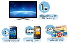Castiga un televizor LED 3D Samsung, 10 tablete pc Samsung Galaxy Tab si 100 telefoane mobile Samsung Corby