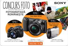 Castiga un aparat foto Mirrorless Sony Alpha A5100, o camera video sport Sony Action Cam FDR-X1000V-4K si un aparat foto tip bridge Sony HX300