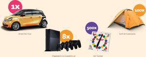 Castiga o masina Smart ForFour, 8 console Sony PlayStation 4, 100 de corturi si 500 jocuri Twister