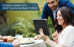 Castiga un laptop 2 în 1 ASUS Transformer Book T100HA Aqua Blue