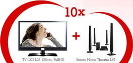 Castiga 10 televizoare LED LG 42LV4500 cu Sistem Home Theatre LG HT806TH
