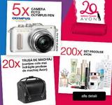 Câștigă 5 aparate foto Olympus, 20 truse de machiaj AVON și 200 seturi cu produse cosmetice AVON