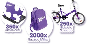 Castiga 250 biciclete Scirocco, 350 laptopuri Acer si 2.000 rucsacuri Milka