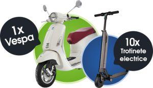 Câștigă un scuter Vespa Primavera 50 4T și 10 trotinete electrice rabatabile