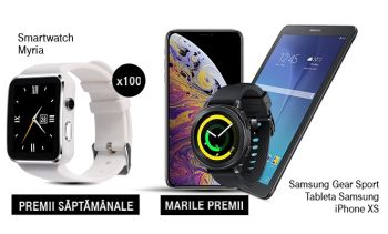 Câștigă un iPhone XS, o tabletă Samsung, un smartwatch Samsung și 100 smartwatch-uri Myria