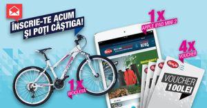 Câștigă o bicicletă, o tabletă Apple iPad Mini 2 și 4 vouchere Hervis de 100 de lei