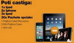 Castiga un iPad Apple 64 GB, 2 iPhone 16 GB, 3 iPod 8 GB