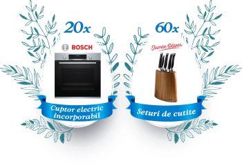 Câștigă 20 cuptoare electrice încorporabile Bosch și 60 seturi de cuțite Jamie Oliver