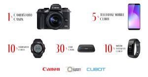 Câștigă un aparat foto Canon, 5 telefoane Cubot, 10 smartwatch-uri Cubot, 10 brățări Cubot și 30 stații conectare Canon