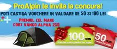 Castiga un cort Vango Alpha 250 sau vouchere ProAlpin