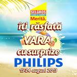 Castiga 10 premii Philips si 100 premii Selgros