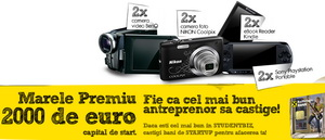 "Concurs ""StudentBiz"": castiga 2.000 euro, 500 euro, 2 ebook readere Kindle, 2 console Sony Playstation, 2 aparate foto Nikon si 2 camere video BenQ"