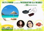 Castiga un weekend la mare si 20 de premii constand in mixer, tava si 24 conserve Sun Food